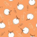 Capricieuze hand-drawn krabbelsinaasappelen en sap vector naadloos patroon op oranje achtergrond Lijn Art Summer Fruits royalty-vrije illustratie