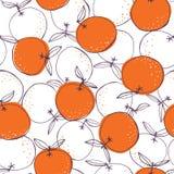 Capricieuze kleurrijke hand-drawn vector naadloze het patroonachtergrond van krabbelsinaasappelen Lijn Art Summer Fruits vector illustratie