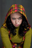 Capricious girl in  hood of tattersall Stock Images