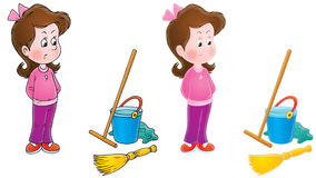 Capricious girl and housework. Fretful girl in capricious mood stands near a bucket, broom and swab (2 versions of the illustration Stock Images