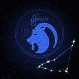 Capricom黄道带的占星术星座 免版税库存图片