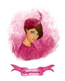 Capricorn astrological sign as a beautiful girl. Illustration of capricorn zodiac sign as a beautiful girl Stock Image