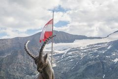 Capricorn in Austria. A statue of capricorn with austrian flag and mountains in the background stock photography