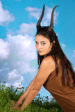Capricorn or goat woman. This photo is part of a series of twelve Zodiac signs of astrology Royalty Free Stock Images