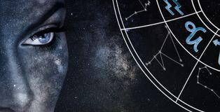 Capricorn Horoscope Sign. Astrology women night sky background royalty free stock image