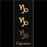 Capricorn Horoscope Symbols. Golden embossed zodiac icons in three styles for the astrology Earth Sign, Capricorn, with textured black background Royalty Free Stock Photo