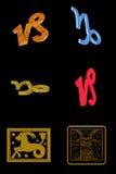 Capricorn icon set stock photos