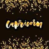 Capricorn lettering Calligraphy Brush Text horoscope Zodiac sign illustration royalty free illustration