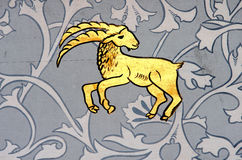 Capricorn the sea goat zodiac sign. Ancient wall painting of a zodiac symbol of Capricorn stock image
