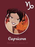 Capricorn sign vector. Female capricorn sign vector illustration Royalty Free Stock Photography