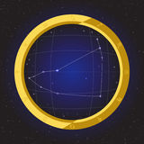 Capricorn star horoscope zodiac in fish eye telescope with cosmos background. Capricorn star horoscope zodiac in fish eye telescope golden ring frame with cosmos Royalty Free Stock Photos