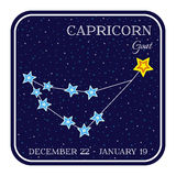 Capricorn zodiac constellation in square frame Stock Image