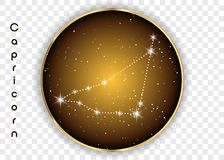 Capricorn zodiac constellations sign on beautiful starry sky with galaxy and space behind. Goat horoscope symbol constellation on. Deep cosmos background Royalty Free Stock Images