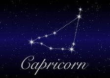 Capricorn zodiac constellations sign on beautiful starry sky with galaxy and space behind. Goat horoscope symbol constellation. On deep cosmos background Royalty Free Stock Photography