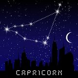 Capricorn zodiac constellations sign on beautiful starry sky with galaxy and space behind. Goat horoscope symbol constellation on. Deep cosmos background Stock Photo
