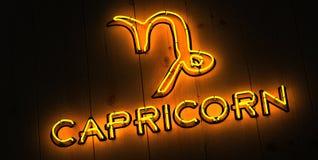 Capricorn Zodiac Sign. In Neon stock images