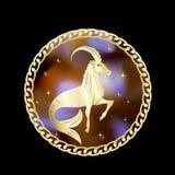 Capricorn zodiac sign in circle frame Stock Image