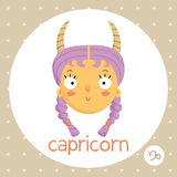 Capricorn zodiac sign, girl with horns Royalty Free Stock Photography