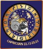 Capricorn zodiac sign.Horoscope circle.Retro Royalty Free Stock Photos