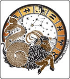 Capricorn and the zodiac sign.Horoscope circle.Vec Stock Photos