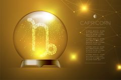 Capricorn Zodiac sign in Magic glass ball, Fortune teller concep. T design illustration on gold gradient background with copy space, vector eps 10 Stock Image