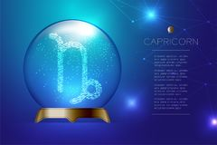 Capricorn Zodiac sign in Magic glass ball, Fortune teller concep. T design illustration on blue gradient background with copy space, vector eps 10 Royalty Free Stock Image