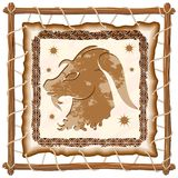 Capricorn Zodiac Sign on Native Tribal Leather Frame. Capricorn Zodiac Sign on Native Tribal and Grunge Leather Frame. Original Vector Graphic Art Copyright Stock Photos