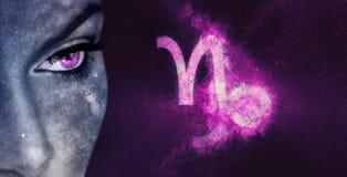 Capricorn Zodiac Sign. Night sky Astrology women. Astrology stock photo