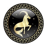 Capricorn zodiac sign in circle frame royalty free illustration