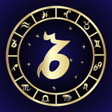 Capricorn zodiac sign in circle frame Royalty Free Stock Photos