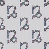 Capricorn zodiac sign seamless pattern. Horoscope magic symbol background. Hand drawn astrological colorful  texture for wal Royalty Free Stock Photos