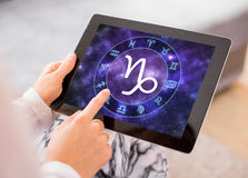 Capricorn zodiac sign. On tablet royalty free stock images
