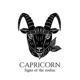 Capricorn zodiac. Signs of the zodiac. Capricorn hand draw. Black silhouette and white details. Vector illustration isolated on a white background Royalty Free Stock Photo