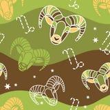 Capricorn - zodiaka bezszwowy wzór Zdjęcie Stock