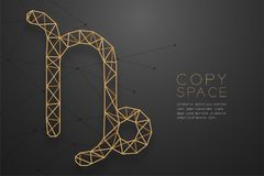 Capricorn zodiaka znaka wireframe wieloboka złota ramowa struktura, pomyślność narratora pojęcia projekta ilustracja ilustracja wektor