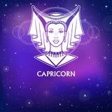 Capricorne de signe de zodiaque Princesse fantastique, portrait d'animation Dessin blanc, fond - le ciel stellaire de nuit Illustration de Vecteur