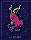 Capricorne de signe de zodiaque sur le fond étoilé de nuit illustration libre de droits