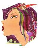 Capricorne-fille Fille de visage en tant que Capricorne de symbole d'astrologie image libre de droits