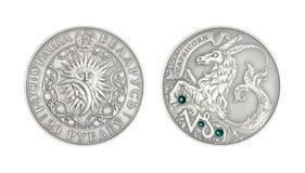 Capricornio astrológico de la muestra de la moneda de plata imagenes de archivo