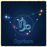 Capricornio de la constelación del vector con la muestra del zodiaco Imagen de archivo