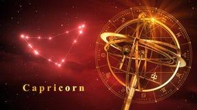Capricornio de la esfera armilar y de la constelación sobre fondo rojo Fotos de archivo libres de regalías