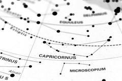 Capricornio en mapa de estrella fotos de archivo