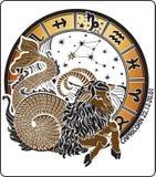 Capricornio y la muestra del zodiaco. Círculo del horóscopo. Vector