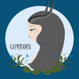 Capricorno della ragazza dello zodiaco Immagine Stock Libera da Diritti