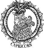 Capricorno dettagliato nello stile azteco Immagini Stock Libere da Diritti