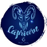 Capricorno rotondo del segno dello zodiaco illustrazione di stock