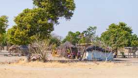 Caprivi, Namibia - August 20, 2016: Poor people busy in their village in the rural Caprivi Strip, the most populated region in Nam. Ibia, Africa stock image