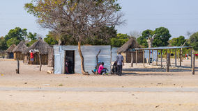 Caprivi, Namibia - August 20, 2016: Poor people busy in their village in the rural Caprivi Strip, the most populated region in Nam. Ibia, Africa royalty free stock image