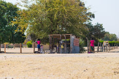 Caprivi, Namibia - August 20, 2016: Poor people working in their village in the rural Caprivi Strip, the most populated region in. Namibia, Africa royalty free stock images