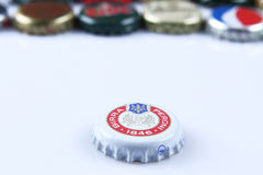 Caps of beer and beverage Royalty Free Stock Images